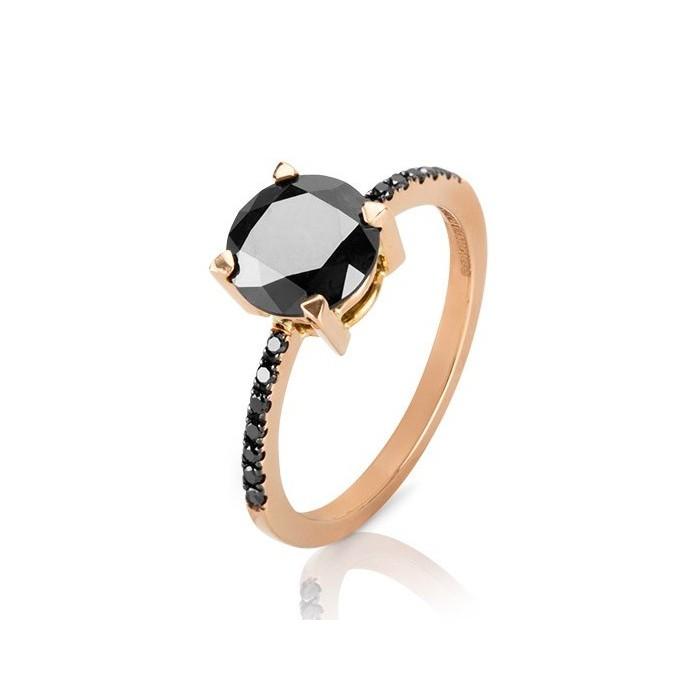 Solitario oro rosa y diamante negro