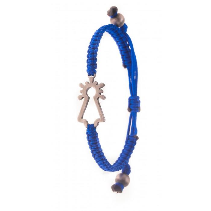 Pulsera Virgen plata nylon azul