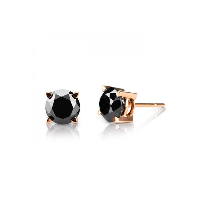 Pendientes oro rosa y diamantes negros