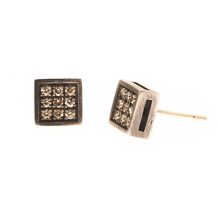 Pendientes Brown Cube