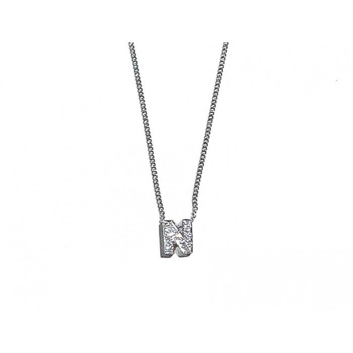 colgante oro blanco letra N con diamantes