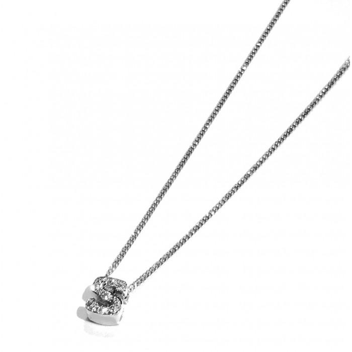 Colgante oro blanco letra S con diamantes