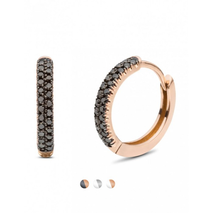 Pendientes de oro rosa con diamantes negros