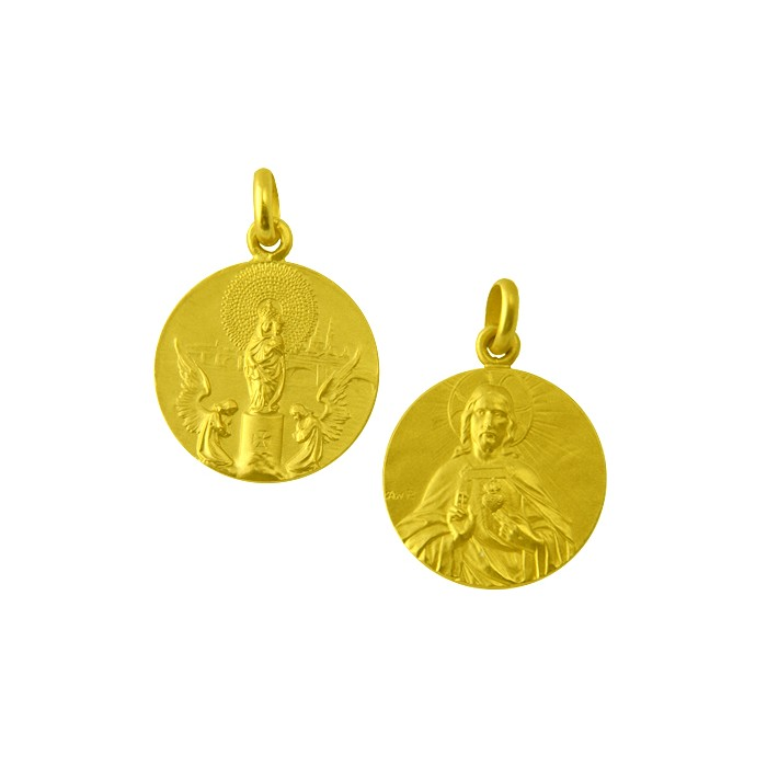 Medalla Virgen del Pilar / Sagrado corazón oro