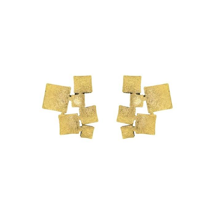 Pendientes oro y plata cubos