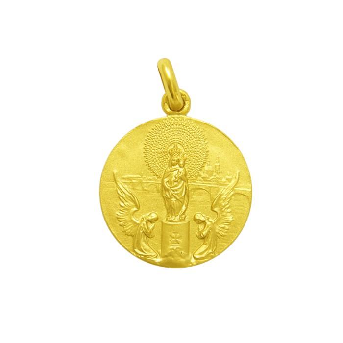 Medalla Virgen del Pilar oro 14mm
