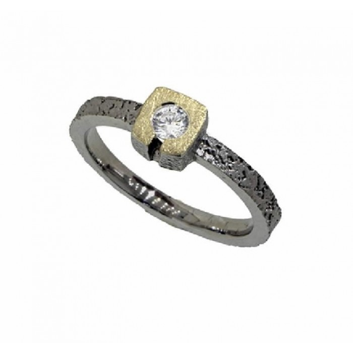 Anillo oro plata y diamante