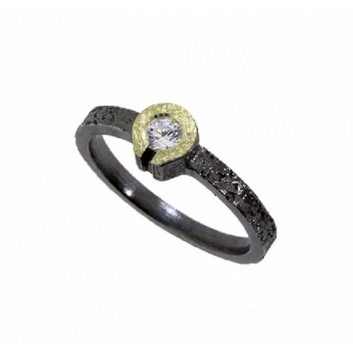 Anillo plata, oro y diamante