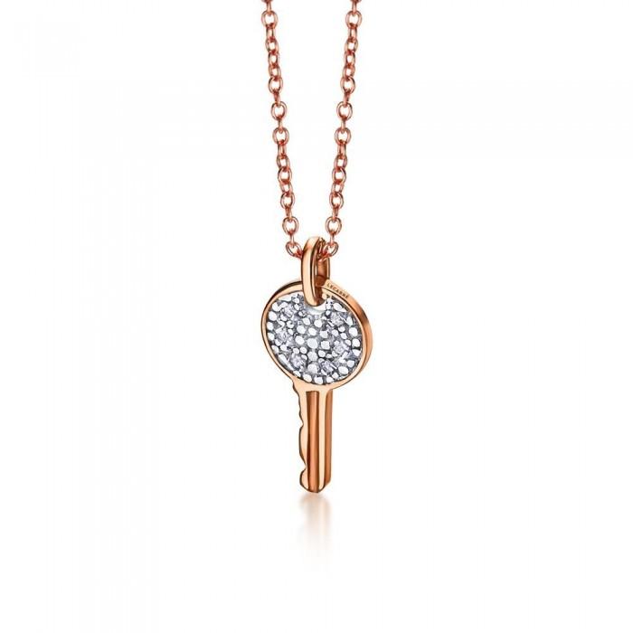 Colgante llave oro rosa y diamantes