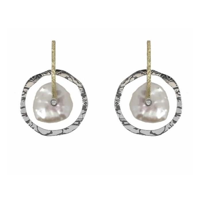 Pendientes oro, plata, diamantes y perlas