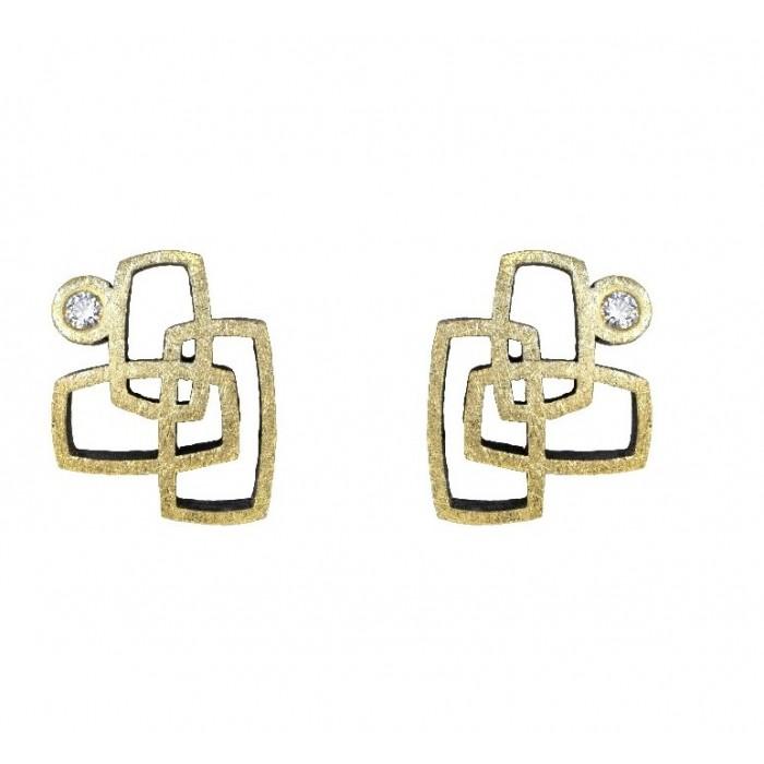 Pendientes de oro, plata y diamantes