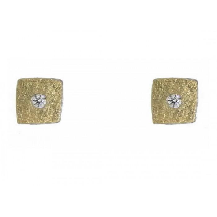 Pendientes oro, plata y diamantes