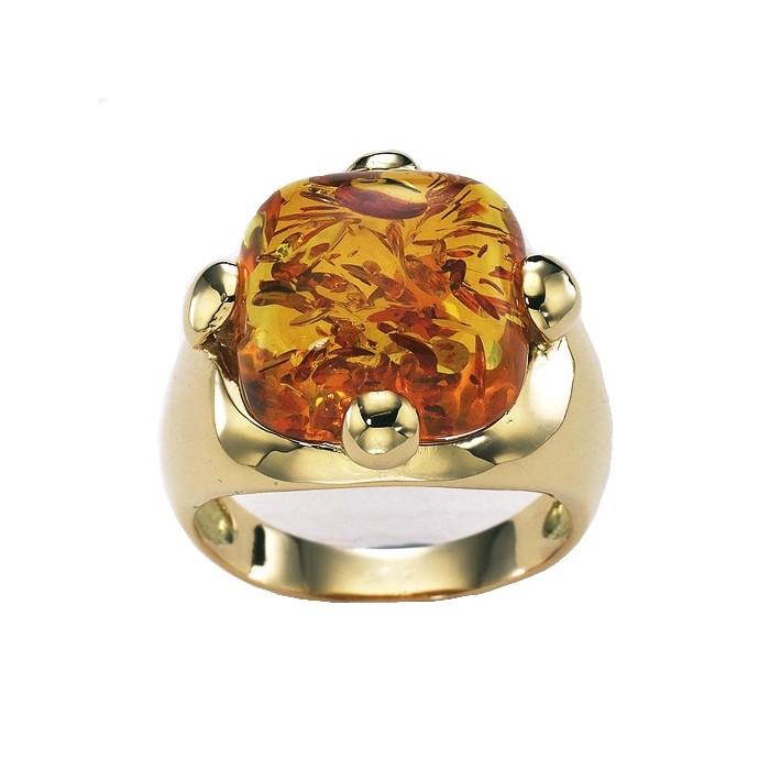 Anillo oro amarillo y ambar