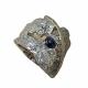 Anillo plata, oro, zafiro y diamante