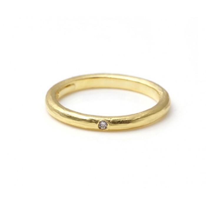 Alianza oro amarillo y diamante