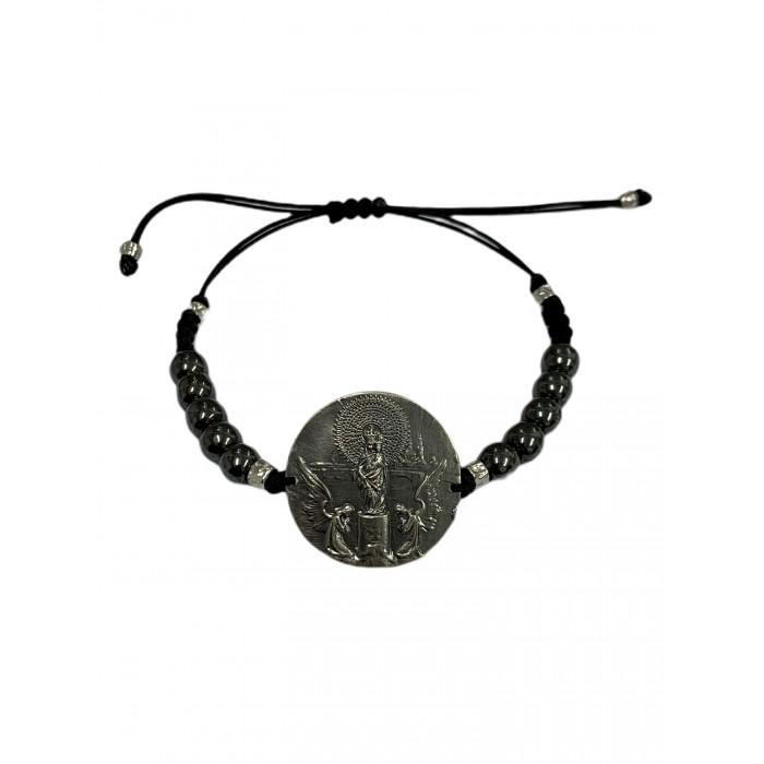 Pulsera medalla Virgen del Pilar plata oxidada