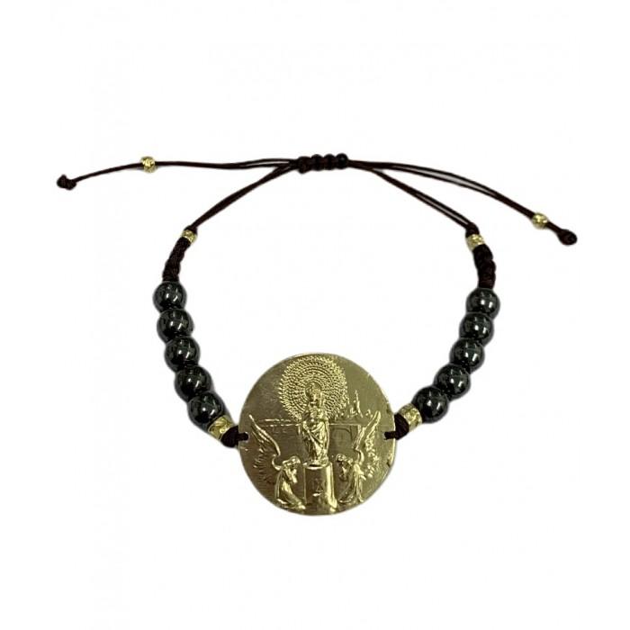Pulsera medalla Virgen del Pilar plata amarilla