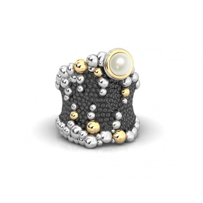 Anillo plata, oro y perla